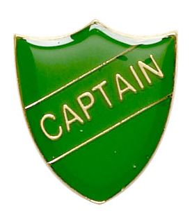 Captain Shield Badge Green 22mm x 25mm