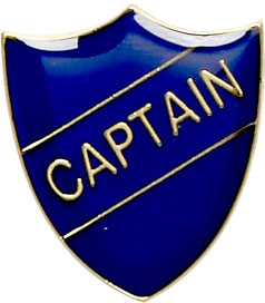 Captain Shield Badge Blue 22mm x 25mm