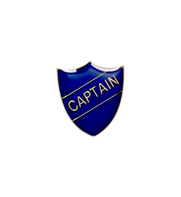 Captain Shield Badge Blue 22mm x 25mm