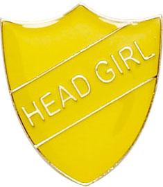 Head Girl Shield Badge Yellow 22mm x 25mm