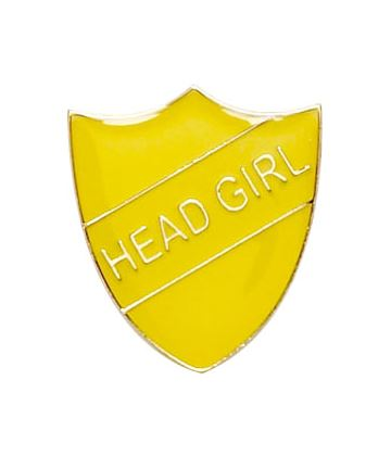 Head Girl Shield Badge Yellow 22mm x 25mm