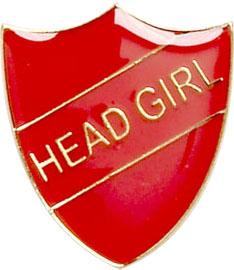 Head Girl Shield Badge Red 22mm x 25mm