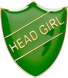 Head Girl Shield Badge Green 22mm x 25mm