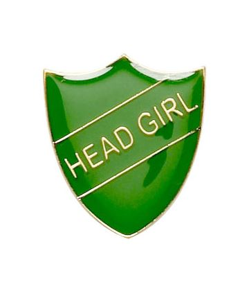 Head Girl Shield Badge Green 22mm x 25mm