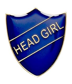 Head Girl Shield Badge Blue 22mm x 25mm