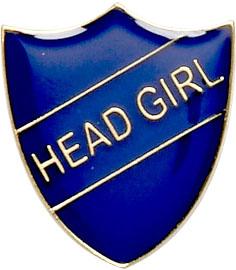 Head Girl Shield Badge Blue 22mm x 25mm