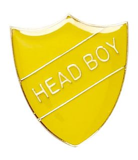 Head Boy Shield Badge Yellow 22mm x 25mm