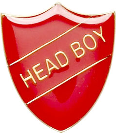 Head Boy Shield Badge Red 22mm x 25mm