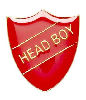 Head Boy Shield Badge Red 22mm x 25mm