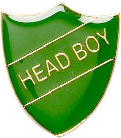 Head Boy Shield Badge Green 22mm x 25mm