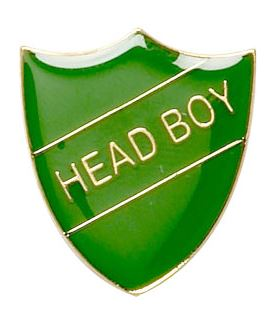 Head Boy Shield Badge Green 22mm x 25mm