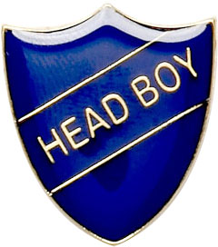 Head Boy Shield Badge Blue 22mm x 25mm