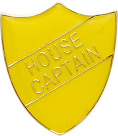 House Captain Shield Badge Yellow 22mm x 25mm