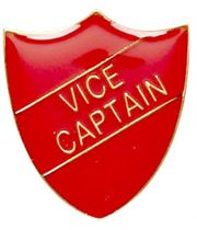 Vice Captain Shield Badge Red 22mm x 25mm