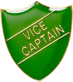 Vice Captain Shield Badge Green 22mm x 25mm