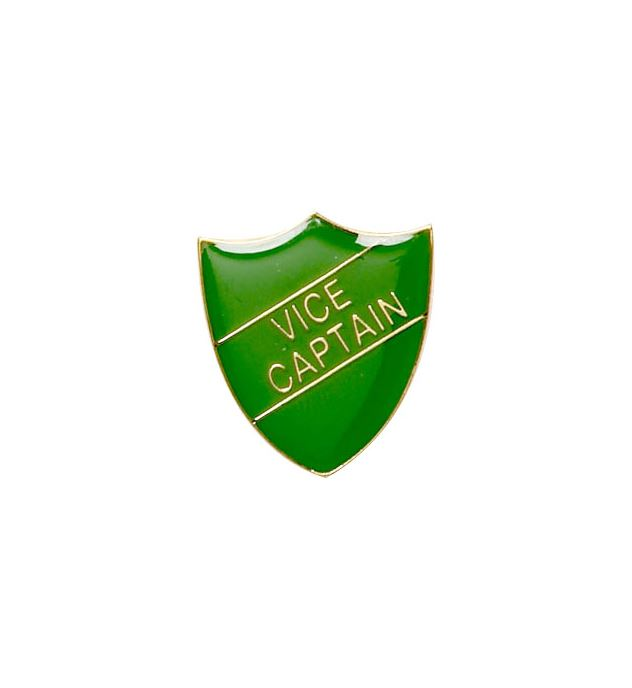Vice Captain Shield Badge Green 22mm x 25mm