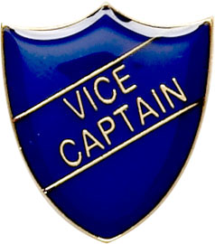 Vice Captain Shield Badge Blue 22mm x 25mm