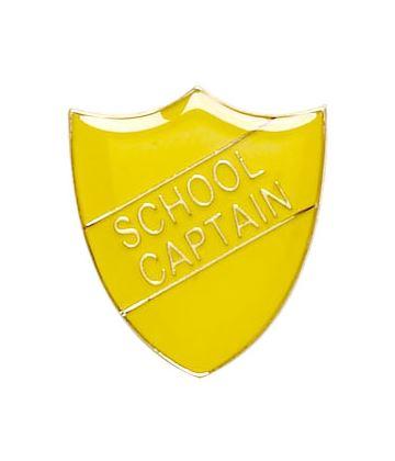 School Captain Shield Badge Yellow 22mm x 25mm
