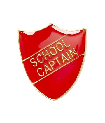 School Captain Shield Badge Red 22mm x 25mm