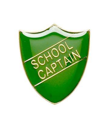 School Captain Shield Badge Green 22mm x 25mm