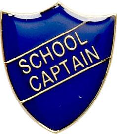 School Captain Shield Badge Blue 22mm x 25mm
