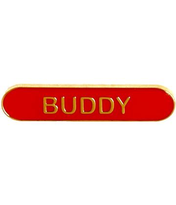Buddy Lapel Bar Badge Red 40mm x 8mm