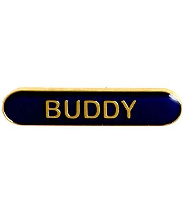 Buddy Lapel Bar Badge Blue 40mm x 8mm
