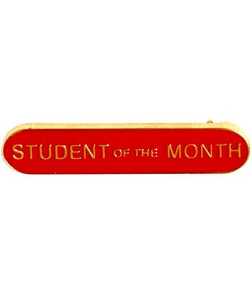 Student of the Month Lapel Bar Badge Red 40mm x 8mm
