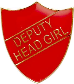 Deputy Head Girl Shield Badge Red 22mm x 25mm