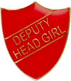 Deputy Head Girl Shield Badge Red 22mm x 25mm