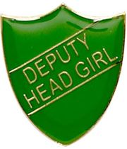 Deputy Head Girl Shield Badge Green 22mm x 25mm