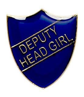 Deputy Head Girl Shield Badge Blue 22mm x 25mm