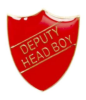 Deputy Head Boy Shield Badge Red 22mm x 25mm