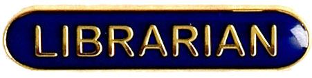 Librarian Lapel Bar Badge Blue 40mm x 8mm