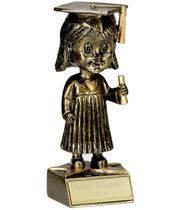 "Bobblehead Female Graduation Trophy 15cm (6"")"