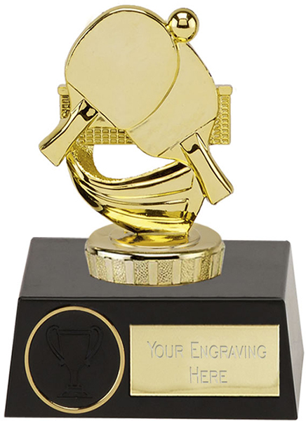"Gold Plastic Ping Pong Trophy on Black Plastic Base 11.5cm (4.5"")"