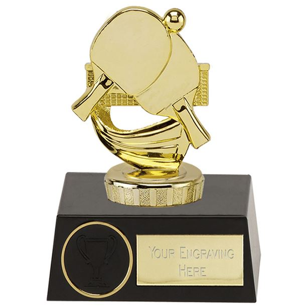 "Gold Plastic Ping Pong Trophy on Black Plastic Base 11.5cm (4.5"")"