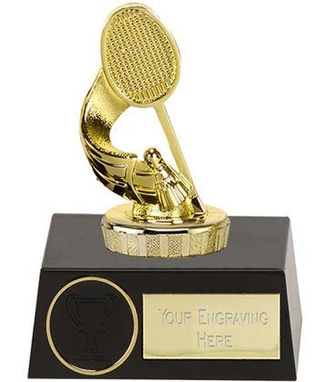 "Gold Plastic Badminton Trophy on Plastic Base 11.5cm (4.5"")"