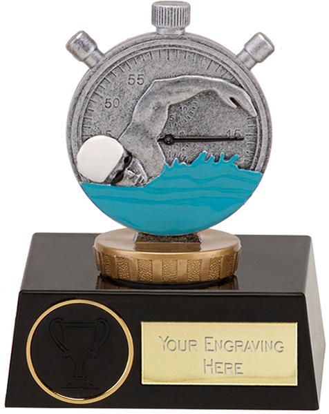 "Silver Swimming Clock & Swimmer Trophy on Black Base 11.5cm (4.5"")"