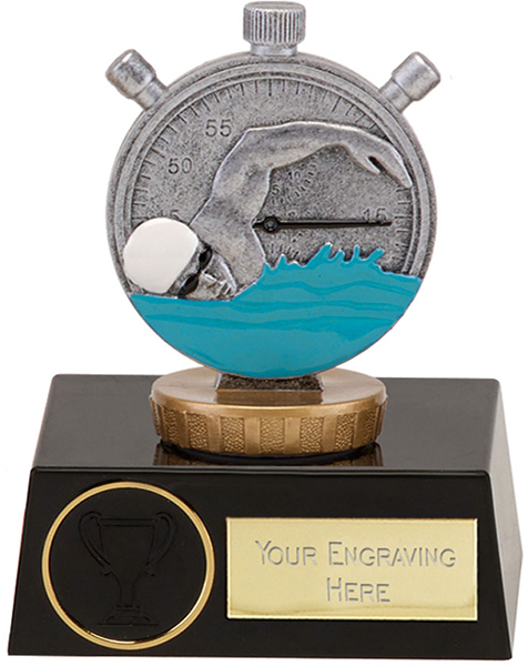 "Silver Swimming Clock & Swimmer Trophy on Black Base 11.5cm (4.5"")"