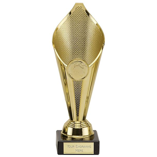 """Eternal Flame Gold Plastic Cup Trophy on Marble Base 17cm (6.75"""")"""