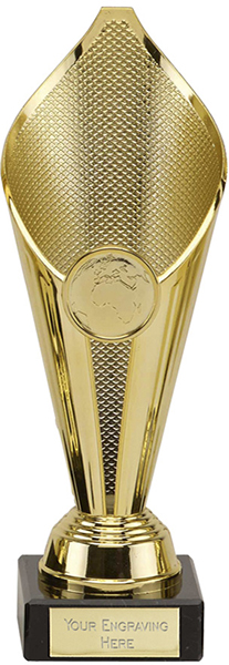 """Eternal Flame Gold Plastic Cup Trophy on Marble Base 19cm (7.5"""")"""
