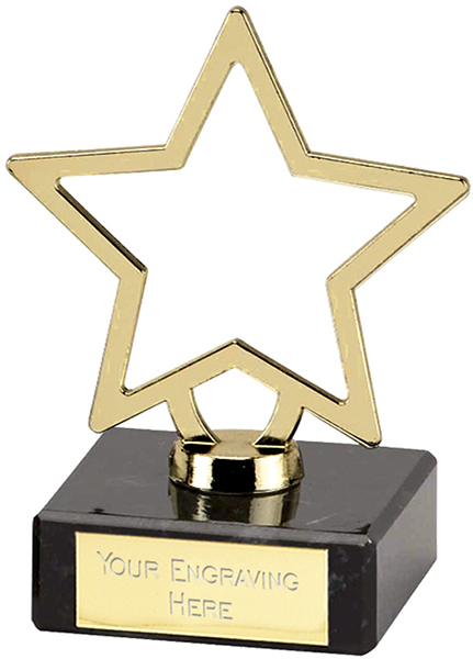 "Gold Galaxy Cast Metal Star Trophy on Marble Base 9.5cm (3.75"")"