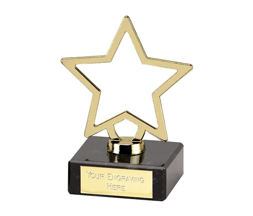 "Gold Galaxy Cast Metal Star Trophy on Marble Base 9.5cm (3.75"")"