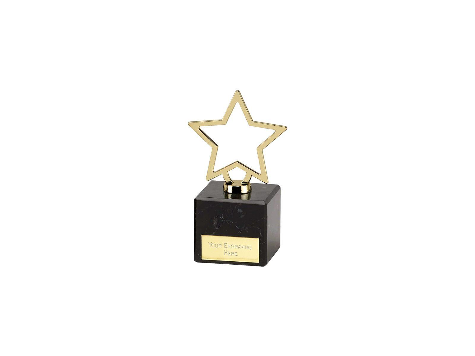Gold Galaxy Cast Metal Star Trophy On Marble Base 12cm 475