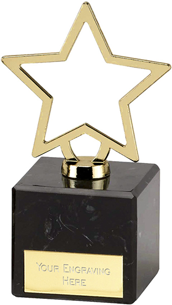 "Gold Galaxy Cast Metal Star Trophy on Marble Base 12cm (4.75"")"