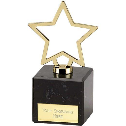 "Gold Galaxy Cast Metal Star Trophy on Marble Base 12cm (4.75"")"