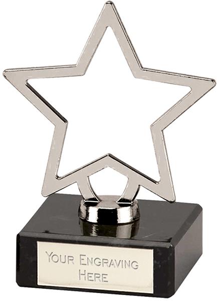 "Silver Galaxy Cast Metal Star Trophy on Marble Base 9.5cm (3.75"")"