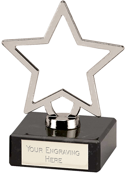 "Silver Galaxy Cast Metal Star Trophy on Marble Base 9.5cm (3.75"")"