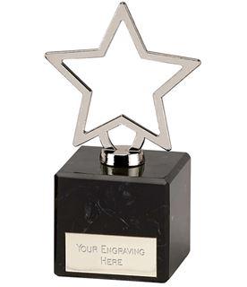 "Silver Galaxy Cast Metal Star Trophy on Marble Base 12cm (4.75"")"